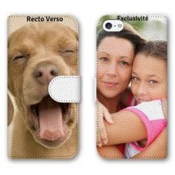 Etui cuir personnalisé RECTO VERSO pour iPhone SE