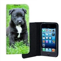 Etui cuir personnalisé portefeuille pour iPhone SE