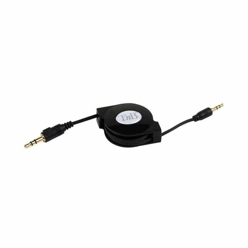 CABLE RETRACTABLE JACK MALE 3.5 MM Noir pour iPhone, iPod et tablettes