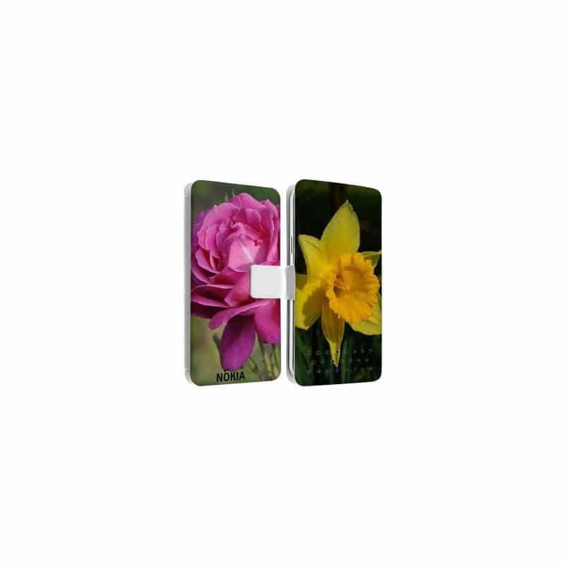 Etui rabattable personnalisé recto verso pour Nokia Lumia 625
