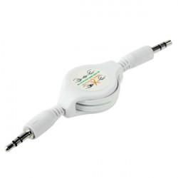 CABLE RETRACTABLE JACK MALE 3.5 MM BLANC pour iPhone, iPod et tablettes
