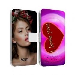 Etui rabattable personnalisé recto verso pour Sony Xperia T2
