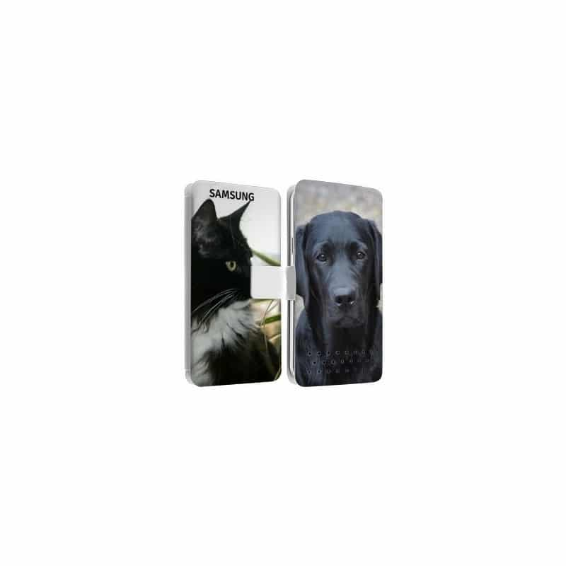 Etui rabattable personnalisé recto verso pour Samsung galaxy grand prime