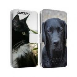 Etui cuir personnalisé recto verso pour Samsung galaxy core prime