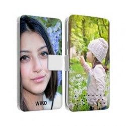 Etui cuir personnalisé recto verso pour wiko 4 g selfy