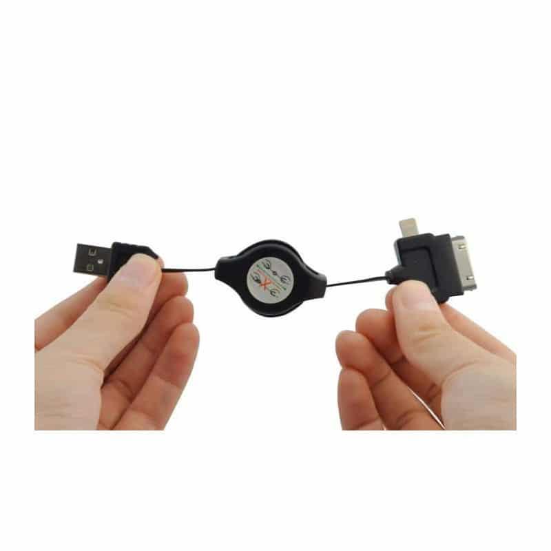 CABLE USB UNIVERSEL RÉTRACTABLE POUR TOUS MODELES IPHONE, IPOD, IPAD, SAMUNG, HTC