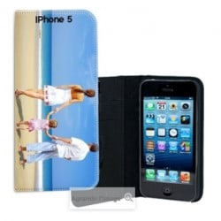 Etui cuir personnalisé portefeuille pour iPhone 5/5S à l'aide d'une photo