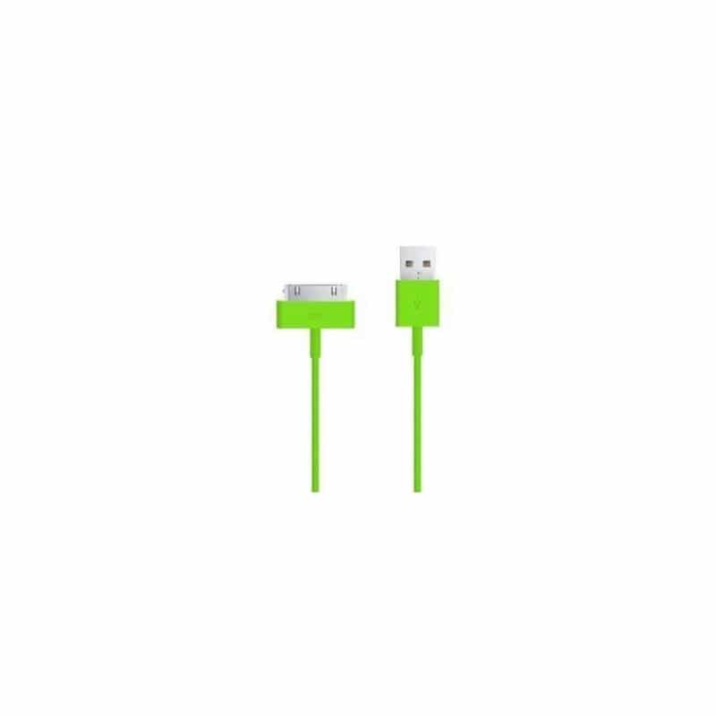CABLE USB de couleur verte pour iPhone 3, 3gs, 4, 4S et iPod touch 2, 3, 4 et iPad 1, 2, 3