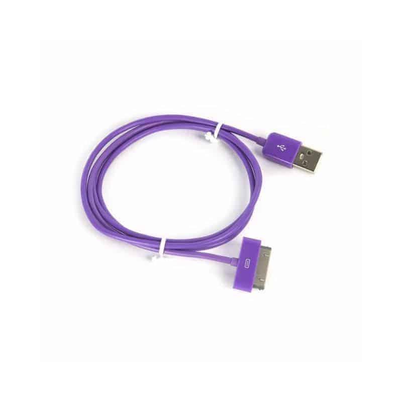 CABLE USB de couleur mauve pour iPhone 3, 3gs, 4, 4S et iPod touch 2, 3, 4 et iPad 1, 2, 3