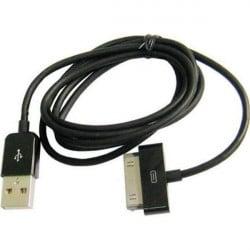 CABLE USB de couleur Noire pour modèles iPhone 3, 3gs, 4, 4S et iPod touch 2, 3, 4 et iPad 1, 2, 3