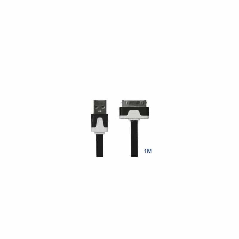 CABLE USB LUXE de couleur noir et blanc pour iPhone 3, 3gs, 4, 4S et iPod touch 2, 3, 4 et iPad 1, 2, 3