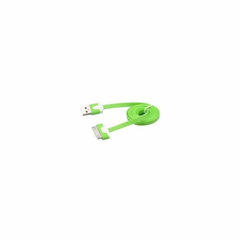 CABLE USB LUXE de couleur verte et blanche pour iPhone 3, 3gs, 4, 4S et iPod touch 2, 3, 4 et iPad 1, 2, 3