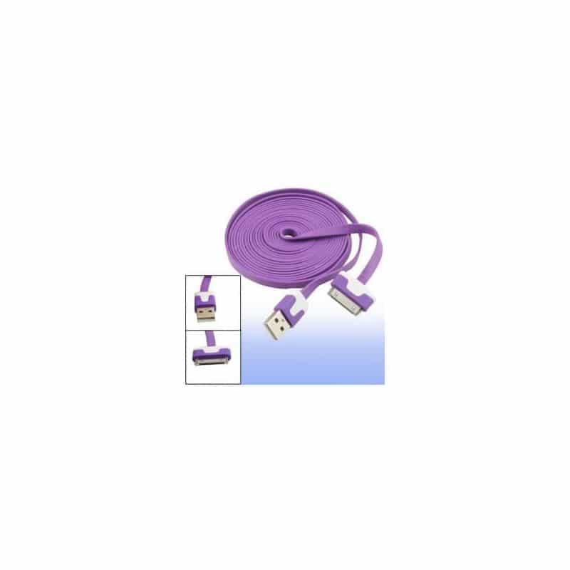 CABLE USB LUXE de couleur mauve et blanche pour iPhone 3, 3gs, 4, 4S et iPod touch 2, 3, 4 et iPad 1, 2, 3