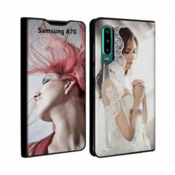 Etui rabattable portefeuille personnalisé pour Samsung Galaxy A70