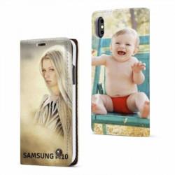 Etui rabattable personnalisé recto verso pour Samsung Galaxy M10