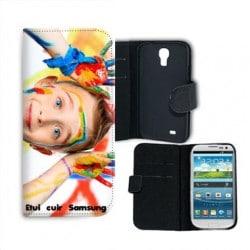 Etui rabattable portefeuille personnalisé pour Samsung Galaxy S4 à l'aide d'une photo