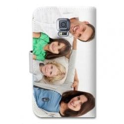 Etui cuir portefeuille personnalisé pour Samsung Galaxy S5 à l'aide d'une photo