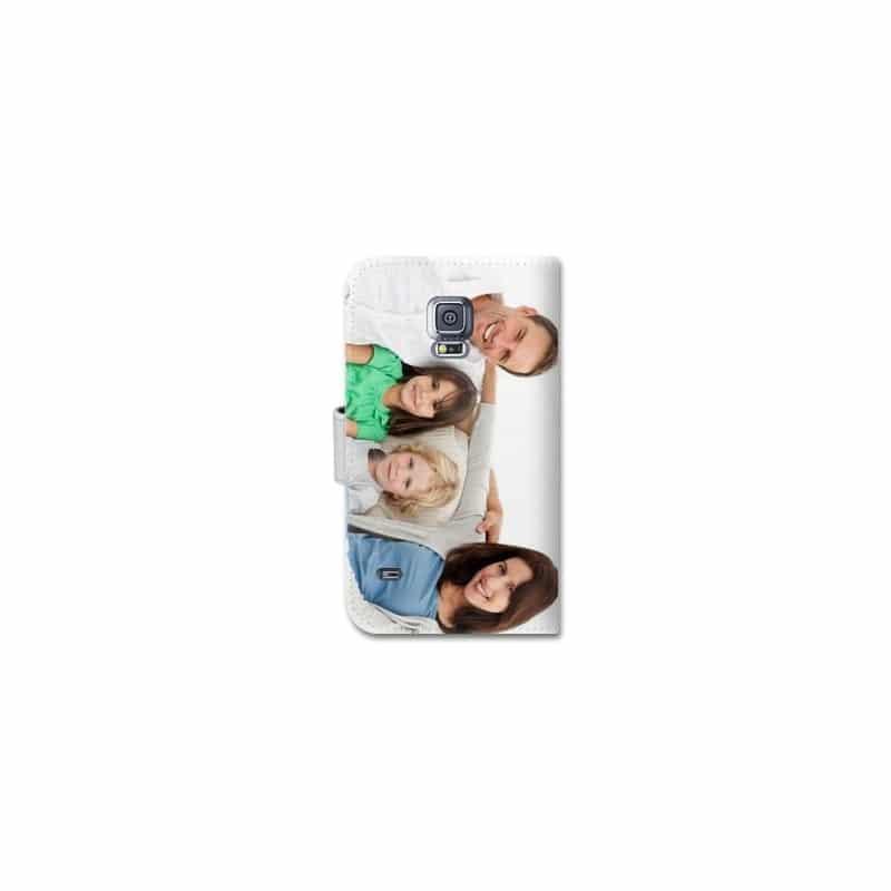Etui rabattable portefeuille personnalisé pour Samsung Galaxy S5 mini à l'aide d'une photo