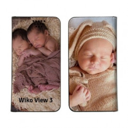 Etui rabattable personnalisé recto verso pour Wiko View 3 Lite